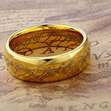 Lord of the Rings Gold Color Tungsten Ring